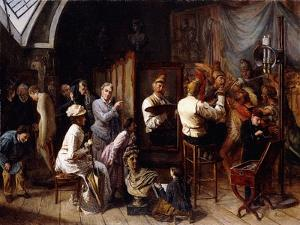The Artist's Studio by Francois Auguste Biard