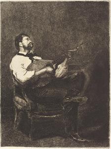 Guitar Player , 1861 by Francois Bonvin