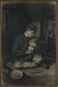 Seated Boy Holding a Cat (Recto); Study of Kittens and a Plate of Milk (Verso), C. 1874-1880 by Francois Bonvin