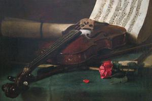 Still Life with Violin, Sheet Music and a Rose by Francois Bonvin