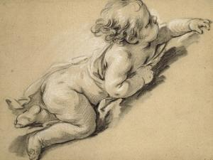 A Putto Reclining to Right by Francois Boucher