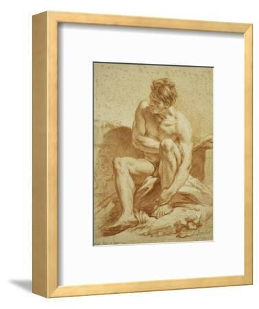 A Seated Nude with a Staff, a Relief with Putti to the Left