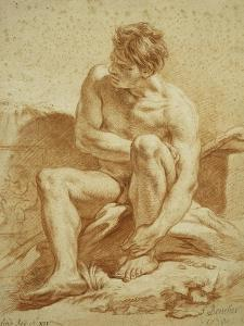 A Seated Nude with a Staff, a Relief with Putti to the Left by Francois Boucher