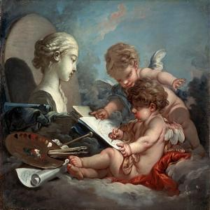 Cupids, Allegory of Painting, 1760S by François Boucher