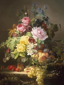 Still Life of Roses, Lilies and Strawberries by Francois Duval
