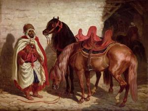 An Arab with Two Horses by Francois-hippolyte Lalaisse