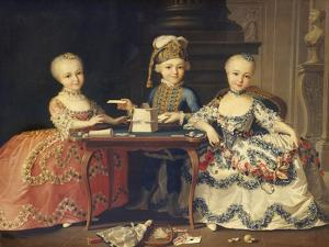 A Boy in Ornate Blue Costume Building a House of Cards, with Two Girls in Lace-Trimmed Dresses by Francois Hubert Drouais