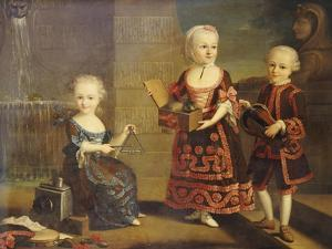 A Girl with a Marmoset in a Box, a Girl with a Triangle Sitting, and a Boy with a Hurdy-Gurdy by Francois Hubert Drouais