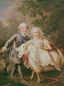 Charles of France (1757-1836) Count of Artois and His Sister, Clothide (1759-1802) 1763-64 by Francois-Hubert Drouais