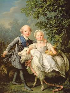 Portrait of Charles Philippe of France (1757-1836) (Later Charles X) and His Sister Marie Adelaide by Francois-Hubert Drouais