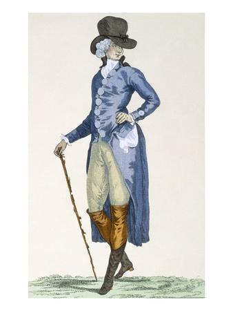 Master of the Royal House in an Elaborate Blue Coat, Engraved by Le Beau, Plate No.256