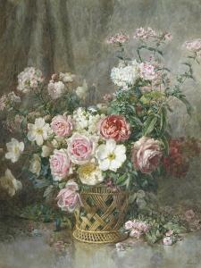 Still Life of Roses, Anemones and Phlox in a Basket by Francois Rivoire