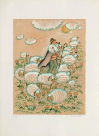 Aux champs - berger et moutons
