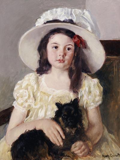 Francoise Holding a Little Black Dog, circa 1908-Mary Cassatt-Giclee Print