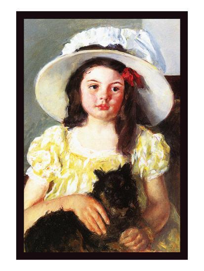 Francoise with a Black Dog-Mary Cassatt-Art Print