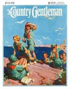 """""""Girl Scouts at Sea Shore,"""" Country Gentleman Cover, July 1, 1932 by Frank Bensing"""