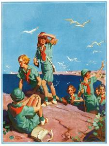 """Girl Scouts at Sea Shore,""July 1, 1932 by Frank Bensing"