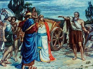 Jezabel and Ahab Meeting Elijah in Naboth's Vineyard by Frank Bernard Dicksee