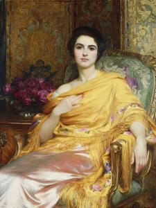 Portrait of Elsa, Daughter of William Hall, seated wearing a Pink Dress and Yellow Wrap by Frank Bernard Dicksee