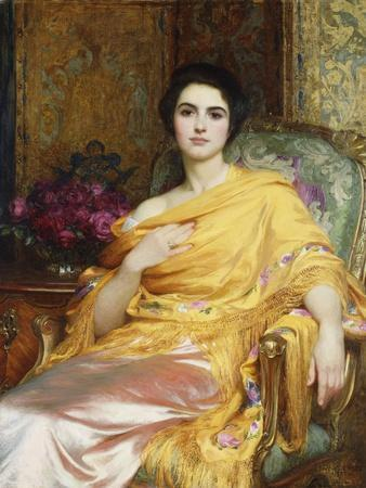 Portrait of Elsa, Daughter of William Hall, seated wearing a Pink Dress and Yellow Wrap