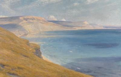 Sea and Sunshine, Lyme Regis, 1919 (Oil on Board) by Frank Bernard Dicksee