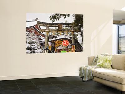 Lucky Charm Shop in Kiyomizu Temple Complex During Snowfall