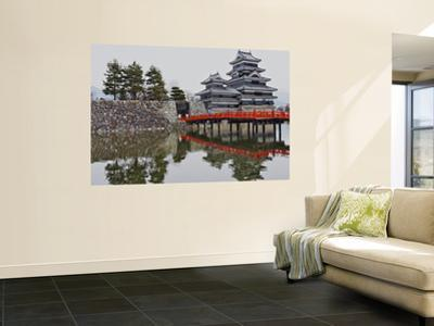 Matsumoto Castle with Moat, Stone Work and Red Wooden Bridge