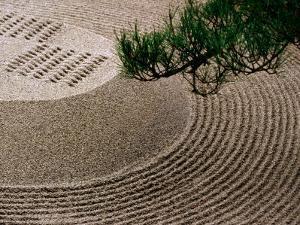 Raked Gravel Zen Garden at Eikando Temple, Kyoto, Japan by Frank Carter