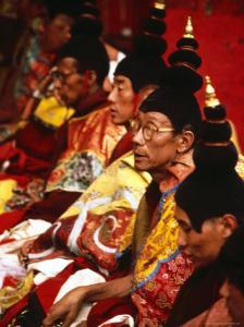Tibetan Monks During Ceremony, Lhasa, China by Frank Carter