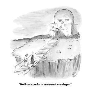 """""""He'll only perform same-sect marriages."""" - Cartoon by Frank Cotham"""
