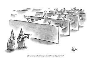 """How many cubicles do you think this will penetrate?"" - New Yorker Cartoon by Frank Cotham"