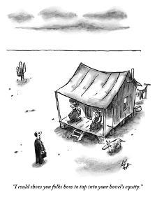 """I could show you folks how to tap into your hovel's equity."" - New Yorker Cartoon by Frank Cotham"