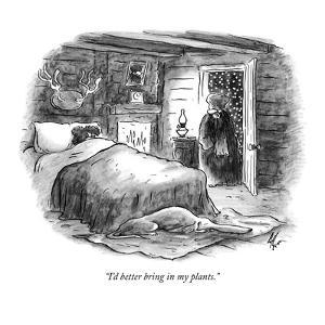 """""""I'd better bring in my plants."""" - New Yorker Cartoon by Frank Cotham"""