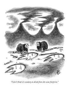 """I don't think it's sanitary to drink from the same footprint."" - New Yorker Cartoon by Frank Cotham"
