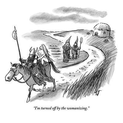 """I'm turned off by the womanizing."" - New Yorker Cartoon"
