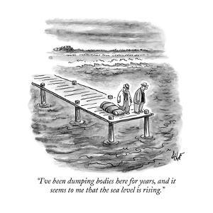 """""""I've been dumping bodies here for years, and it seems to me that the sea ?"""" - New Yorker Cartoon by Frank Cotham"""