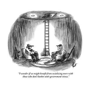 """""""I wonder if we might benefit from socializing more with those who don't h?"""" - New Yorker Cartoon by Frank Cotham"""