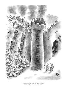 """Security is lax on this side."" - New Yorker Cartoon by Frank Cotham"