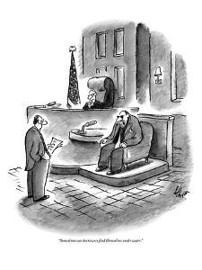 """Sometimes our borrowers find themselves underwater."" - New Yorker Cartoon by Frank Cotham"