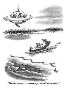 """""""The death ray is useless against his sunscreen."""" - New Yorker Cartoon by Frank Cotham"""