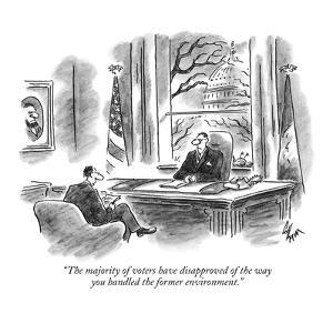 """""""The majority of voters have disapproved of the way you handled the former?"""" - New Yorker Cartoon by Frank Cotham"""