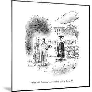 """""""What does he know, and how long will he know it?"""" - New Yorker Cartoon by Frank Cotham"""