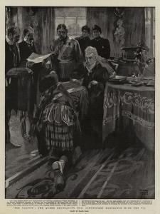 For Valour, the Queen Decorating Honourable Lieutenant Robertson with the V C by Frank Craig