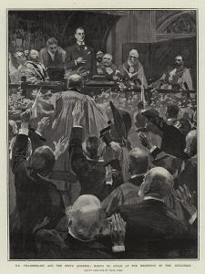 Mr Chamberlain and the City's Address, Rising to Speak at the Reception in the Guildhall by Frank Craig