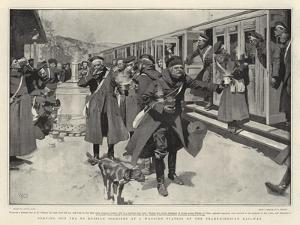Serving Out Tea to Russian Soldiers at a Wayside Station on the Transsiberian Railway by Frank Craig