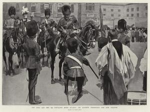 The King and the 3rd Battalion Scots Guards, His Majesty Presenting the New Colours by Frank Craig