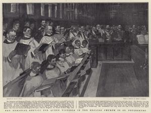 The Memorial Service for Queen Victoria in the English Church in St Petersburg by Frank Craig