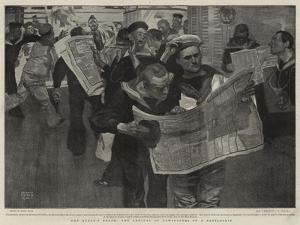 The Queen's Death, the Arrival of Newspapers on a Battleship by Frank Craig