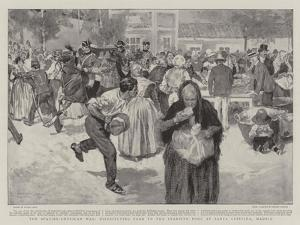 The Spanish-American War, Distributing Food to the Starving Poor at Santa Cristina, Madrid by Frank Craig