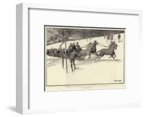 Winter in the Engadine, a Tailing Party at Davos Platz by Frank Craig